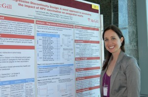 Leah Smith beside her winning poster at the 2013 CSEB National Student Confernece, Memorial University of Newfoundland, St. John's, Newfoundland